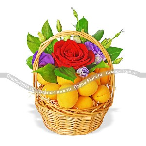 Fruit hi - basket with roses and apricots